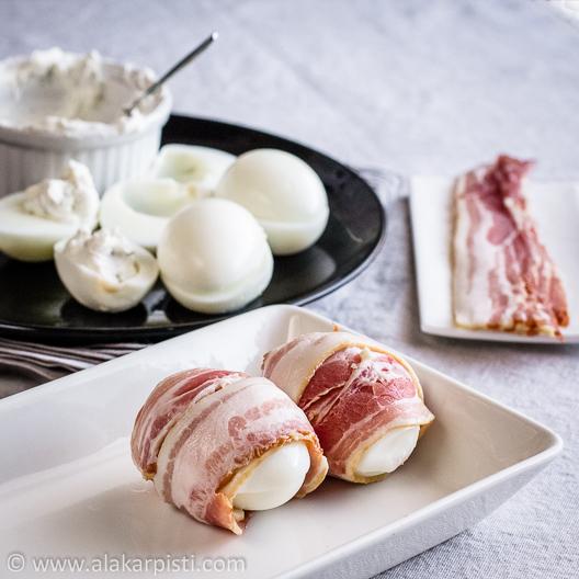 Munat ja pekonit toisella tavalla; melkein valmista | Alakarpisti.com